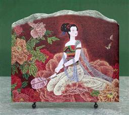 Chinese Lady in Flower Painting Reproduction on Marble Slab