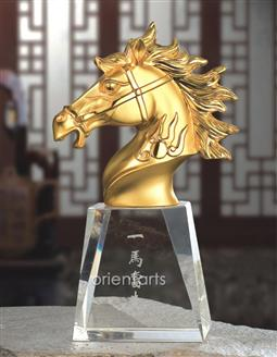 Golden Horse Head on Clear Crystal Base for Successful Feng Shui
