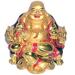 Golden Laughing Buddha on Dragon Chair