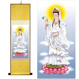 Kwan Yin on Lotus Flower Silk Painting