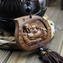 Laughing Buddha Rosewood Sculpture Mystic Knot