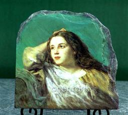 Meditation by William Dobson Oil Painting Reproduction on Marble Slab
