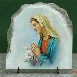 Virgin Mary Oil Painting Replica on Slate