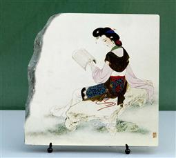 Reading Lady on Rock Chinese Painting Reproduction on Marble Slab