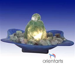 Rolling Ball on Fluorite Rock With Blue Bowl Fountain