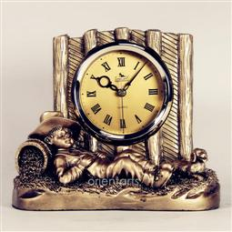 Sleeping Boy Nearby Fences Statue Resin Tabletop Clock