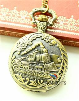 The Antique Train Metal Pocket Watch