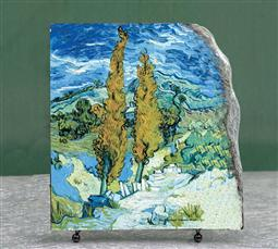 Two Poplars on a Road through the Hills by Vincent Van Gogh Oil Painting Reproduction on Marble Slab