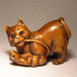 Wood Netsuke Cat Playing Rat