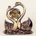 2 Swans Statue Resin Tabletop Clock