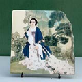 Lady in Garden Chinese Painting Reproduction on Marble Slab