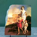 Lucy Ashton and Ravenswood Visiting Blind Alice by Karoly Brocky Oil Painting Reproduction on Marble Slab