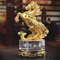 Standing Horse with Ruyi on Rotatable Crystal Standing for Successful Feng Shui