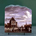 The Dam Square in Amsterdam by Jacob Van Ruisdael Oil Painting Reproduction on Marble Slab